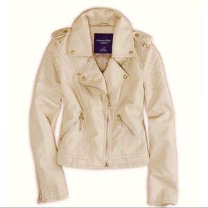 AEO Vegan Leather Moto Jacket, Cream, Size XL
